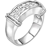 Unisex Sterling Silver .925 Ring Cubic Zirconia (CZ) Stones, Platinum Plated Jewelry. For Men, Women.