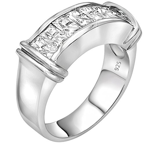 Platinum Pinky Rings (Unisex Sterling Silver .925 Ring Cubic Zirconia (CZ) Stones, Platinum Plated Jewelry. For Men, Women.)
