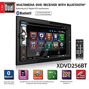 "Dual Electronics XDVD256BT Digital Multimedia 6.2"" LED Backlit LCD Touchscreen Double DIN Car Stereo with Built-In Bluetooth, CD/DVD, USB, micro SD & MP3 Player"