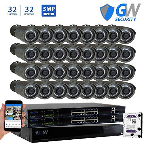 - GW Security 32CH 4K POE NVR System (32) 5MP IP Security Bullet Surveillance Cameras with 8TB Hard Drive, Motion Detection, Live-View Recording, Night Vision, 2-Year Warranty - Best CCTV System