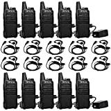 Retevis RT22 Walkie Talkie Long Range Rechargeable, 2 Way Radios, 16 Channel VOX Hands-free Two Way Radio with Headset Earpiece (10 Pack)