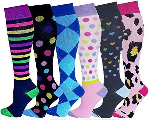 6 Pairs Pack Women Travelers , Anti-Fatigue , Graduated Compression Knee High Socks 9-11 (Assorted Printed #2) by Different Touch