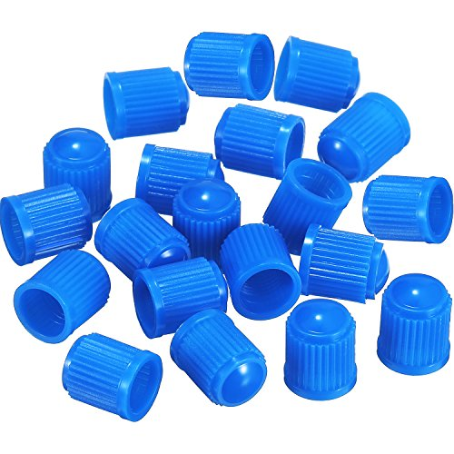 Outus 20 Pack Tyre Valve Dust Caps for Car, Motorbike, Trucks, Bike, Bicycle (Blue)