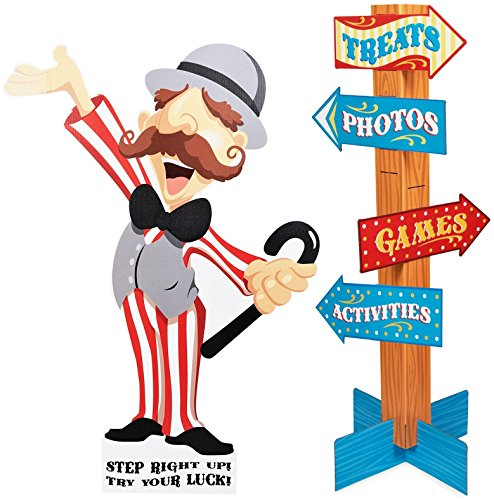 BirthdayExpress Carnival Man with Direction Sign - 4' Tall]()