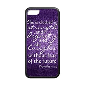APPLE iPhone 5c Case - Bible Proverbs 31:25 She is clothed with strength and dignity, And she smiles at the future