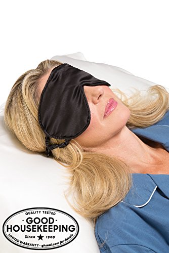 Fishers Finery 25mm 100% Silk Therapeutic Sleep Mask; Perfect for Travel (Black)
