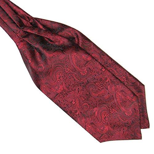 Ascot Tie (Weixinbuy Men Ascot Tie Cravat Satin Scarf Self Tie Wedding Necktie Dark Red)