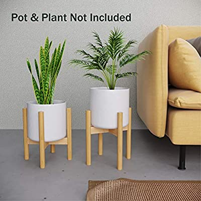 Plant Stand Flower Pot Holder - BAMFOX Indoor Bamboo Mid Century Modern Plant Holder Display Rack for House Plants, Home Decor, Up to 8 Inches (Pot Not Included) : Garden & Outdoor