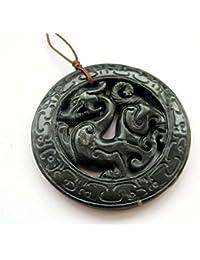 Dark Color Stone Carved Dragon Amulet Pendant