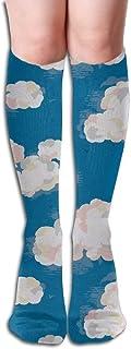 Kotdeqay Women High Keen Socks Boots Crew Cloud Socks Compression Long Athletics Stockings For Men Women