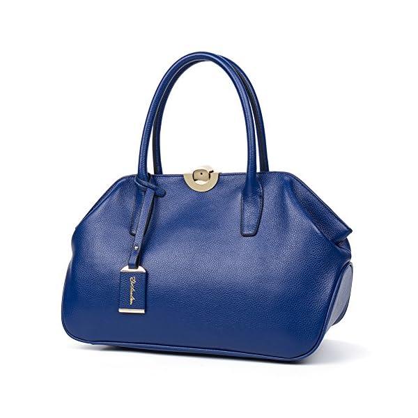 c9b8d3f00a7d46 BOSTANTEN Women's Leather Handbags Tote Shoulder Top handle Bags Blue