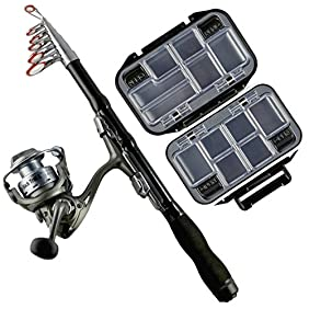 Fishing Rod Kit - Backpacking Ultralight Spinning Rod & Reel - Fish Tackle Box - 1.5m Collapsible Rod - Compact Carbon Fiber Design - Perfect for Hunting Travel Hiking & Backpacks
