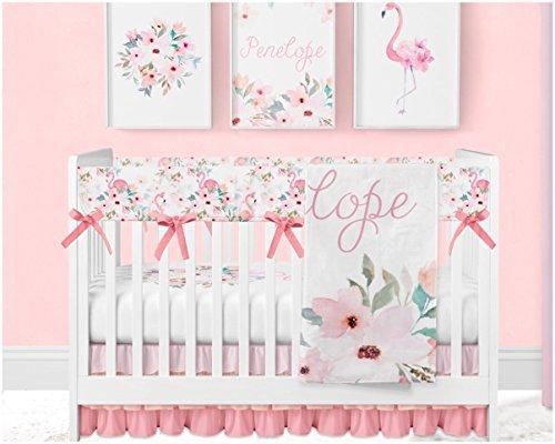 Flamingo Floral Bouquet Crib Bedding Set