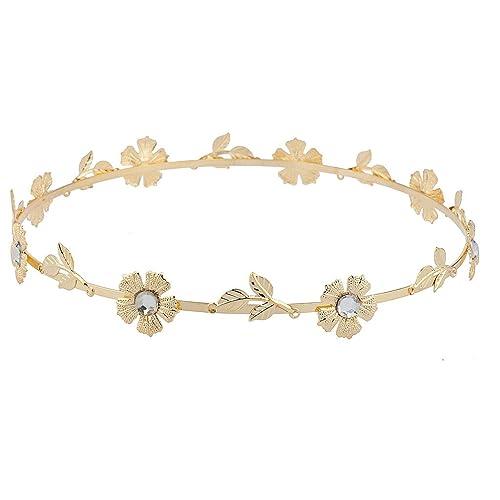 LUX accesorios cristal Floral flor hoja de metal cabeza pelo corona