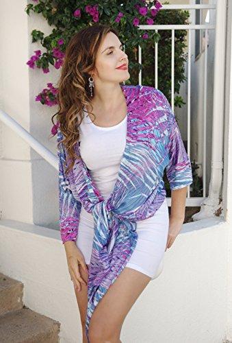 - Super Soft Bamboo Silk Beach Kimono Shirt, Transformer Geometric Purple Top, Rayon Cover, Soft Ocean Jacket, Street Kimono. One Size (S-XL)