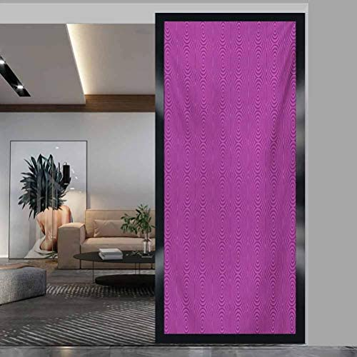 W 35.4 x L 78.7 Static Cling Door Film for Home Living Room Bedroom,Magenta,Turning Rotary Spiral Tile Twist Symmetrical Spinning Plural Motion Modern Image,Bubblegum