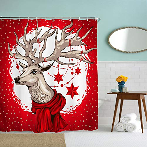 AORRO Christmas Decorations Shower Curtain Set, Red Reindeer Shower Curtain Liner, Winter Holiday Theme Fabric Bath Curtain, Waterproof, Mildew Resistant, Anti-Bacterial, Hooks Included, 72 x 72 inch]()