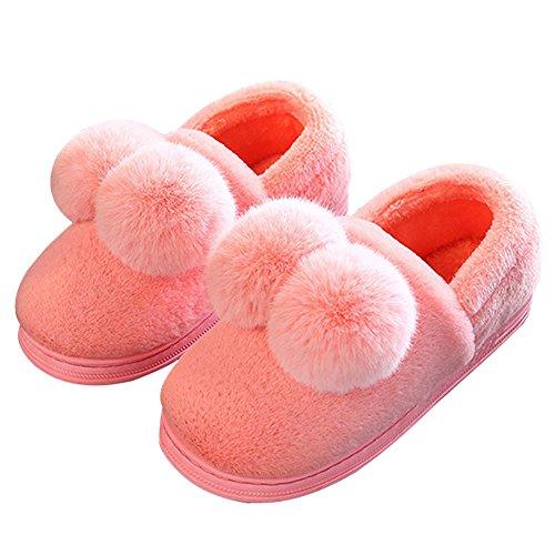 Hoxekle Womens Mens Soft Winter Fur Home Slipper Anti Slip Cartoon Pom Pom Velvet Couple House Slippers Red aROynhGmE