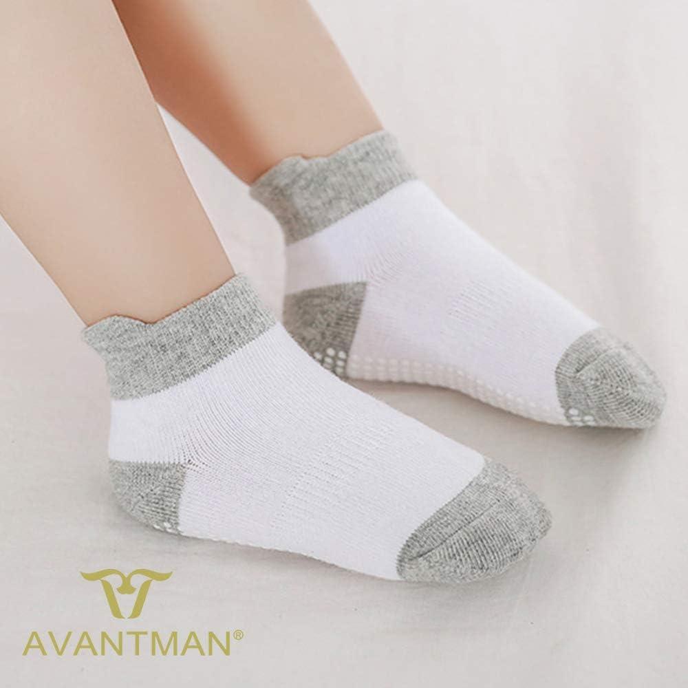 AVANTMEN Toddlers Baby Ankle Socks with Grips 12 Pack Non Slip Girls Boys Infants Kids Anti Skid