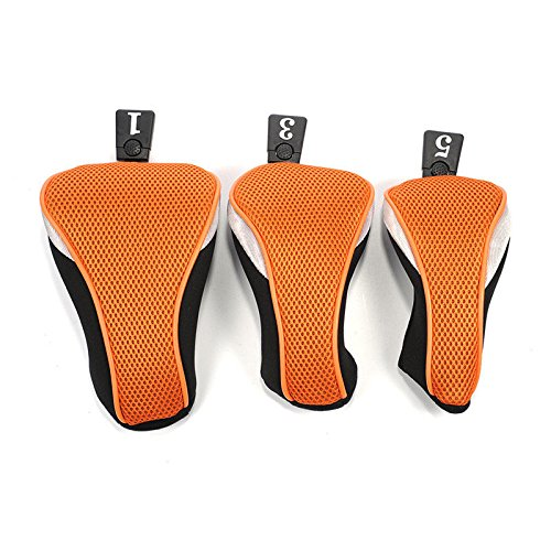 Mesh Headcover - 3Pcs/Set Mesh Wood Golf No.1 3 5 Golf Club Driver Headcovers Head Covers Durable (ฺOrange)