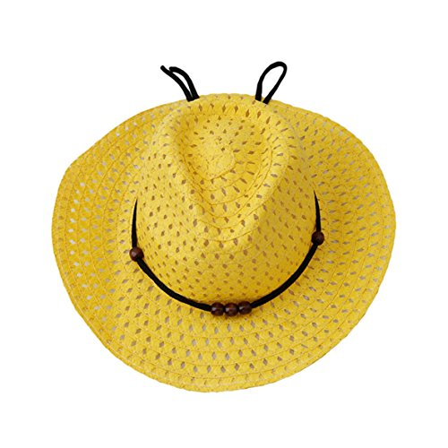 UNKE Boy Kids UV Protective Straw Sun Hat,Yellow (Toddler Yellow Hat)