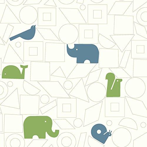 Dwellstudio Squares - York Wallcoverings DwellStudio Baby and Kids Animal Blocks, Greens/Blues/White/Off Whites