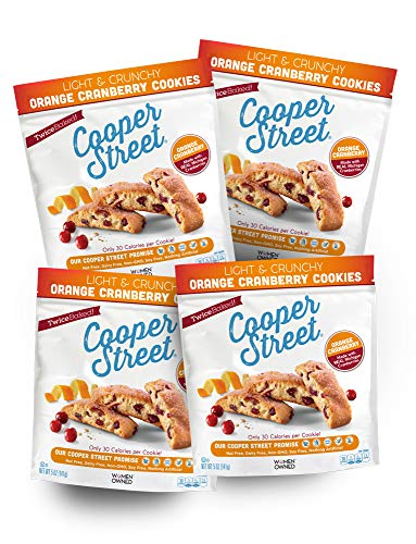 Cooper Street Cookies Orange Cranberry Biscotti Cookies, 5 Ounce Bags (Pack of 4)