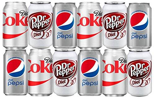 Assortment of Diet Soda, Coke, Pepsi, Dr Pepper Drinks Refrigerator Restock Kit (Pack of 12)