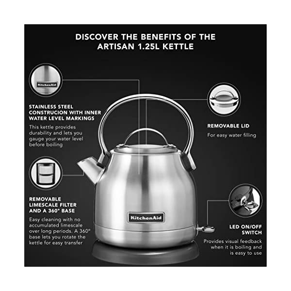 KitchenAid KEK1222SX 1.25-Liter Electric Kettle - Brushed Stainless Steel,Small 2