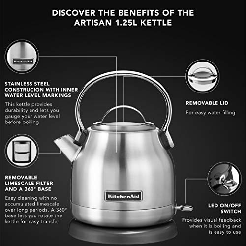 KitchenAid KEK1222SX 1.25-Liter Electric Kettle - Brushed Stainless Steel