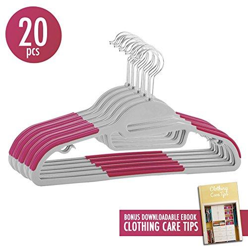 50pcs U-Slide Plastic Hangers Non-SlipClothes Hangers 360 Swivel with Tie Bar