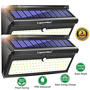 Solar Lights Outdoor 100 LEDs, Motion Sensor Wireless Waterproof Security Light, Solar Lights for Garden, Patio, Yard, Driveway, Garage, Porch, Pathway by Luposwiten [2PACK]