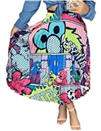 JXG Las Mujeres de Moda de Impresion High Rise Falda Midi Plisada