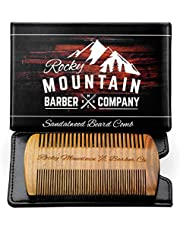 Beard Comb - Natural Sandalwood for Hair - Scented Fragrance Smell with Anti-Static & No Snag, Handmade Fine Tooth Brush Best for Beard & Moustache Packaged in Premium Giftbox