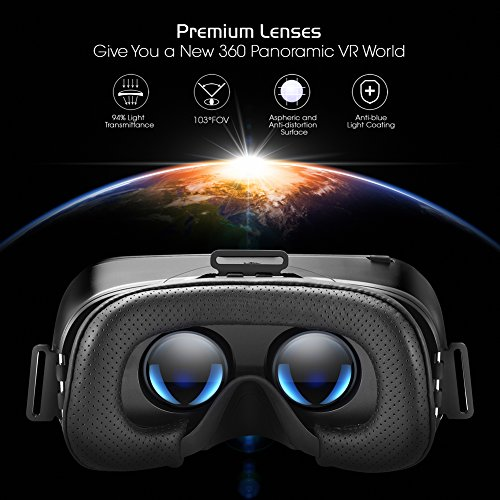 virtual reality inf 103 Destek v4 vr, 103°fov, eye protected hd virtual reality headset w/ controller/gamepad, touch button/trigger for iphone 6 6s 7/plus, samsung s6 s7 s8/plus/edge note 8, smartphones w/ 45 - 60in screen.