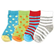 Luvable Friends Basic Crew Socks, 4 Pack, Teal, 0-6 months