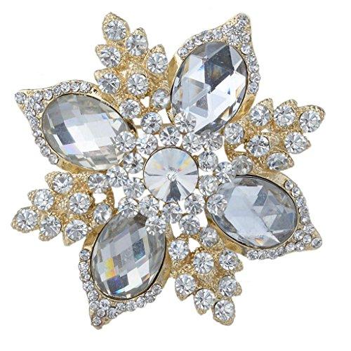 EVER FAITH Women's Rhinestone Crystal Wedding Elegant Flower Pendant Brooch Clear Gold-Tone ()