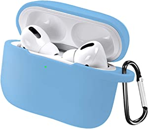 AirPods Pro Case Cover, Silicone AirPods Pro Case with Keychain Full Protective Case Cover Skin Compatible with Apple Airpods Pro 3 Wireless Charging Case (Sky Blue)