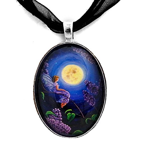 Laura Milnor Iverson Lilac Fairy Bathed in Moonlight Handmade Jewelry Art Pendant Blue Moon Flowers Fantasy -
