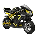Gas Pocket Bike Mini Motorcycle for Adults Kids, 49cc 2 Stroke Gas Powered - Yellow