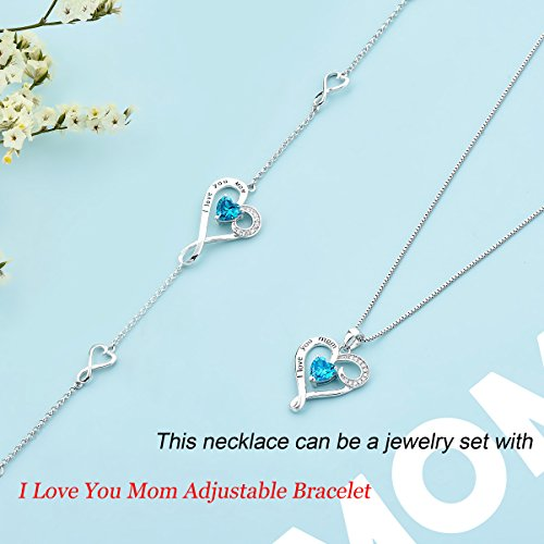 Mother's Birthday Gift''I Love You Mom'' S925 Sterling Silver Heart Pendant Necklace (I Love You Mom-Blue Heart) by Long Way (Image #5)