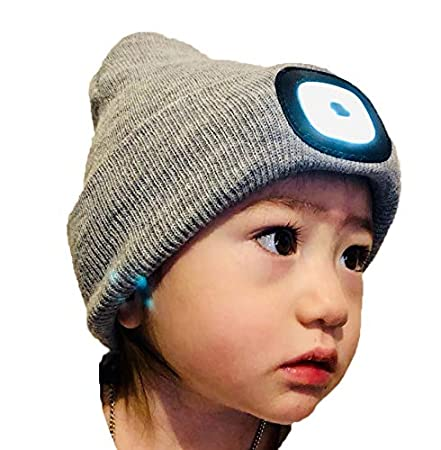 NO BATTERIES TO REPLACE Activewear LED headlamp ZHEJIANG FENGZE LED Beanie hat Light Gray Remove Recharge bright LED lights CHARGE CAP USB LED headlamp BEANIE Kids Size