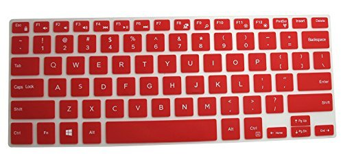"""CaseBuy Keyboard Silicone Cover Protector Skin for 14"""" Dell Inspiron 14-3000 14-5000 Series 14-3442 i3442 14-3446 i3446 14-3447 i3447 14-3452 14-5447 i5447 14-5448 i5448 14-5458 i5458 (Red)"""