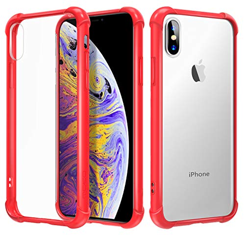 MoKo Compatible with iPhone X Case/iPhone 10 Case, Crystal Clear Reinforced Corners TPU Bumper, Anti-Scratch Rugged Transparent Hard Panel Cover Fit with Apple iPhone X 2017 - Red (Phone Case Skin Red Clear)