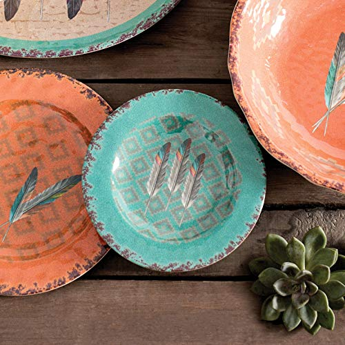 (BLACK FOREST DECOR Feather Design Southwest Melamine Salad Plates - Set of 4)
