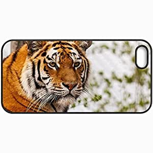 Customized Cellphone Case Back Cover For iPhone 5 5S, Protective Hardshell Case Personalized Tiger Black