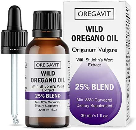 Wild Oil of Oregano Blend with St. John s Wort – Extra Strength 86 Carvacrol for Digestive, Immune Support Respiratory Health