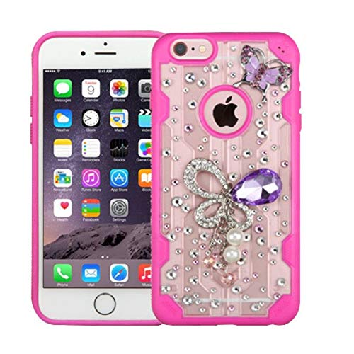Eforcity Clear Crystal Phone Case - Insten 3D Butterfly Crystal Hard Snap-in Case Cover with Diamond Compatible with Apple iPhone 6 Plus/6s Plus, Clear/Hot Pink