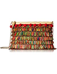 Tiki TIME Multi Colored Raffia Crossbody Clutch