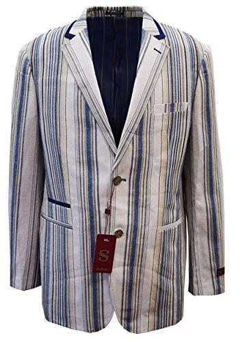 SILVERSILK MEN'S FANCY LINEN JACKET- VERTICAL MULTI STRIPES (XXL, NAVY) - Exclusive Single Breasted Jacket